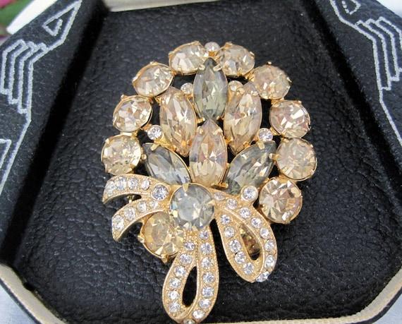 Vintage Eisenberg Ice  Black Diamond Rhinestone Brooch