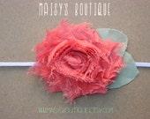 75% Off Guava Pink Shabby Flower Headband/ Newborn Headband/ Baby Headband/ Flower Girl/ Wedding/ Photo Prop