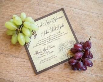 Rustic Wedding Invitation / Rustic Winery Invitation / Winery Invitation / Rustic Vineyard / Vineyard Wedding / Shabby Chic Invitation