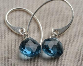 London Blue Topaz Earrings, December Birthstone Earrings, Healing Gemstone Jewelry, Gemstone Drop Earrings, Silver Earrings