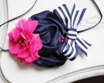 Hot Pink and Navy flower headband, navy nautical headbands, baby flower headbands, photography prop, pink headbands