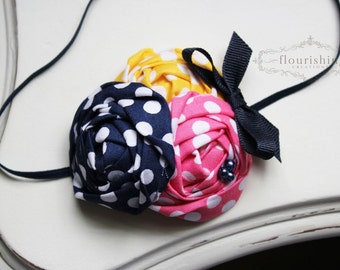 Yellow, Pink and Navy flower headband, baby headbands, rosette headbands, newborn headbands, navy headbands, photography prop