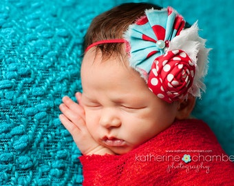 Dr Seuss Inspired flower headband, baby headbands, red headbands, aqua headbands, newborn headbands, dr seuss headbands, photography prop