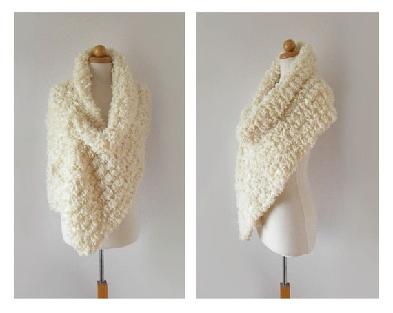 Fur Shawl / Hand Knit Chunky Scarf  / Fur Stole / Knitted Winter Accessories / Women's Fashion / Made To Order / Many Ways To Wear It