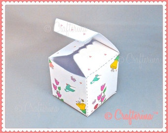Hummingbird Printable PDF Gift Box - DIY - Party Favor Box - Holiday Wrapping Paper