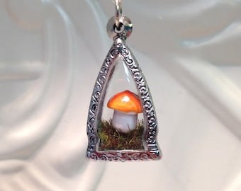 Orange Mushroom Terrarium Pendant terrarium necklace Christmas Birthday Gift stainless steel case