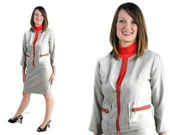 60s Deadstock Suit, Mod Dress Mad Men Gray Red Orange Martian