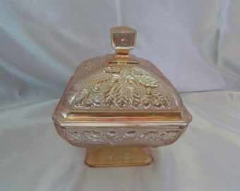 Marigold lidded Jeanette glass candy dish, very champagne colored.