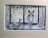 A conversation between a horse and a pet goose through the kitchen window.