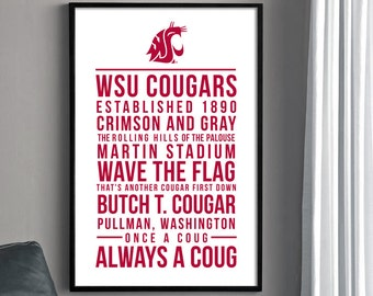 WSU COUGARS POSTER - 12 X 18