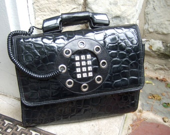 1970s Avant Garde Black Vinyl Mod Telephone Briefcase Handbag ON SALE