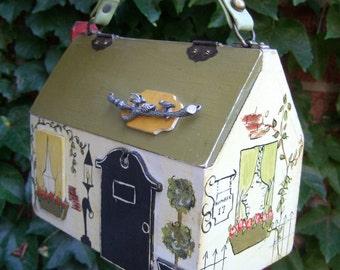 Whimsical Hand Painted Wood House Handbag c 1970