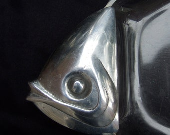 Mod Lucite Silver Metal Serving Fish Tray