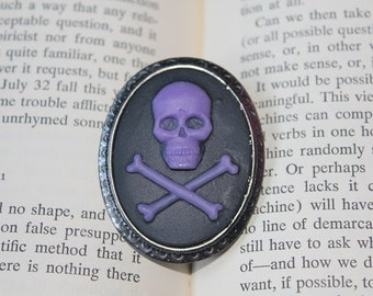 Purple On Black Skull & Crossbones Silhouette Cameo Brooch