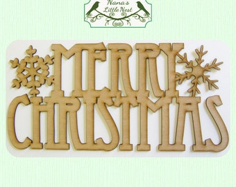 Merry Christmas Wood Cut Out