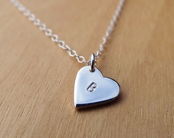 Silver Heart Necklace With Initial - Sterling Silver