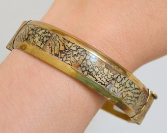 Vintage Brass & Bone Bangle Bracelet Metal Wide Jewelry Clasp. Made in India. Women Chic Gift Unique Black Gold Patina African Tribal Style