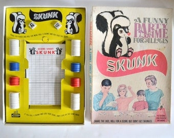 Vintage Game Skunk Complete with Box, Chips & Dice. Party Game for Family Fun, All Ages! 1960s Use and Display! Shelf Piece for Yellow pop!