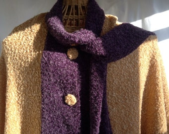 Boucle Wool Cape With Scarf