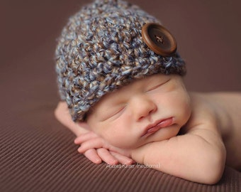 Newborn Baby Boy Beanie Hat Cap -  Chunky - Photography Prop - Knitted / Crochet - Brown / Blue - Baby Gifts