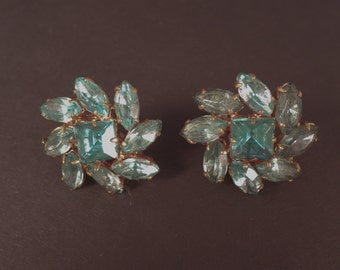 Vintage Czecho Aquamarine Rhinestone Earrings With Screwbacks