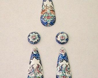 Enamel Painting Set Earrings and Pendant