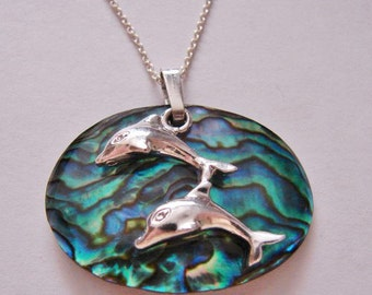Dolphins Sterling Silver Paua Shell  Pendant