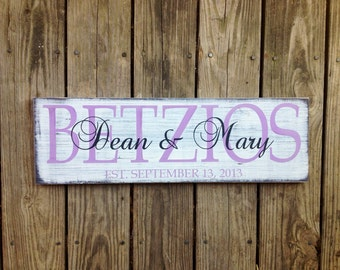 Family established sign. Personalized plaque.