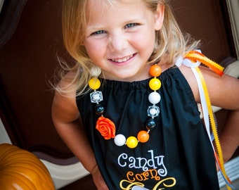 Candy corn cutie ruffle pillowcase dress