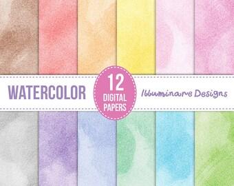 Watercolor Digital Paper:  Digital Scrapbooking Paper Pack, Watercolor Backgrounds - Instant Download