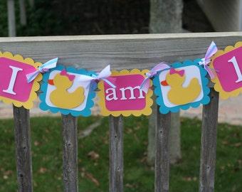 Girl Ducky I am 1 Highchair Banner, Ducky Banner, Rubber Duck, Rubber Duck Birthday, Highchair Banner, Rubber Ducky Birthday, First Birthday