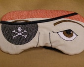 Embroidered Eye Mask, Sleep Mask, Sleeping, Kid Mask, Adult Mask, Cute Mask, Sleep, Slumber Mask, Pirate Design, Handmade, Custom, Eye Shade