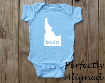 Idaho Home State with BORN Unisex Infant Bodysuit/Creeper - Baby Boys or Girls