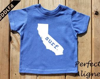 California Home State SURF Unisex Toddler T-shirt - Baby Boys or Girls