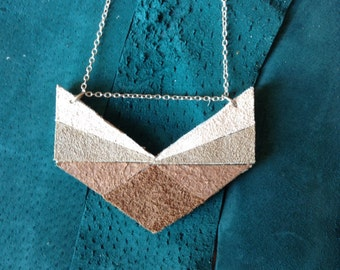 Leather Chevron Necklace in Neutral Ombre