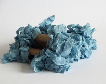 5 m - 5.4 yards - BLUE Shabby Wrinkled Ribbon - Crinkled Seam Binding Ribbon