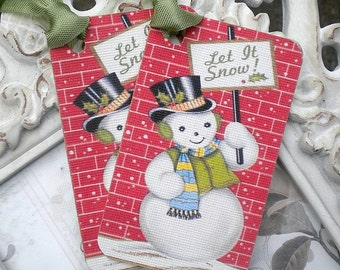 Retro Snowman Tags (6) Christmas Gift Tags-Let it Snow-Snowman Gift Tags-Treat Tags-Winter Gift Tags-Christmas Favor Tag-Snowman Favor Tags