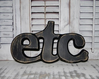 Etc Sign Wood Letters Word Art Shabby Wall Decor