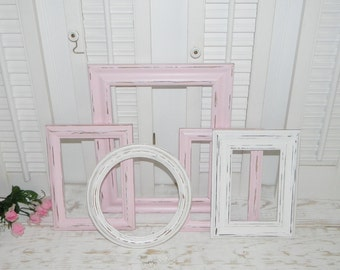 Pink & White Frames Distressed Shabby Country Chic Frames