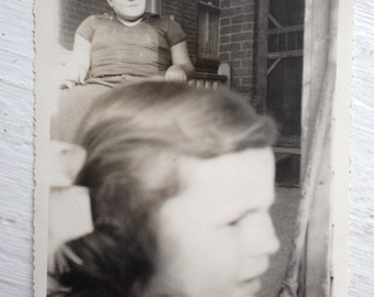 Original Vintage Photograph Strange Shot Profile Young Girl Young Man