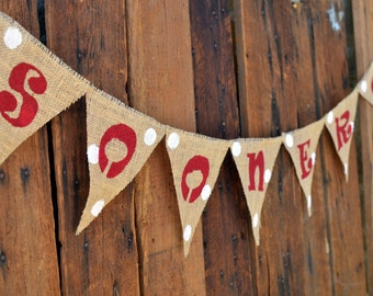 SOONERS Burlap Banner for Univeristy of Oklahoma Football