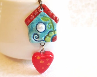 Ceramic House & Heart Necklace. Red Heart. Teeny Blue House. Glazed Ceramic. Pearl. Long Necklace. Brass. Vintage Style. Bird House. Whimsy
