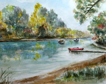 Fishin' On The River - original watercolor painting