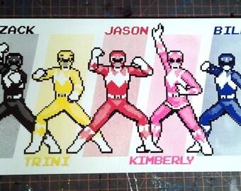 Power Rangers 8-bit Pixel hand-pulled silkscreen print