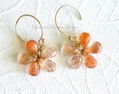 Gemstone Flower Earrings, Sunstone Smooth Pear Briolettes, Gold-filled Wire Wrapped, Gold-filled Ball End Earwires. Gift for Her. E095.