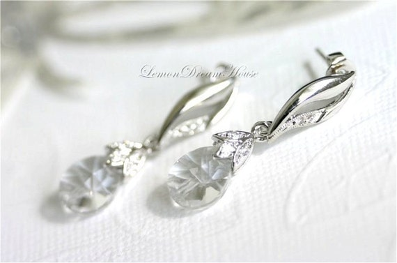 Swarovski Crystal Earrings, Crystal Clear Xilion Mini Pear Pendants, Silver Bails with Cubic Zirconia, Sterling Silver Posts, Bridal. E071.