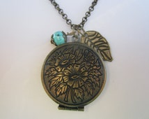 Antique Bronze Round locket with leaf and Turquoise drop/ Victorian/ Birthday gift/ Present / Under 50 dollars/ everyday necklace
