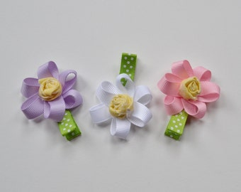 Purple, white and pink flower hair clip set