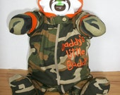 Camo daddy's little buddy diaper baby boy 3-6 month sitting up life-like and super cute and unique baby shower gift or centerpiece
