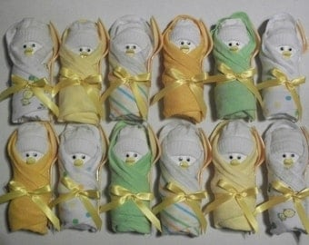 Set of 12 neutral ducky little swaddlers unique baby shower gift favor dirty diaper game table settings